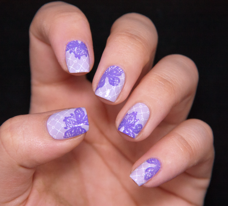 Lilac double lace nail art by Chasing Shadows