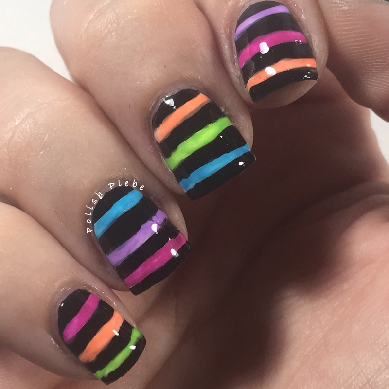 Freehand Neon Stripes Over Black nail art by Crystal Bond