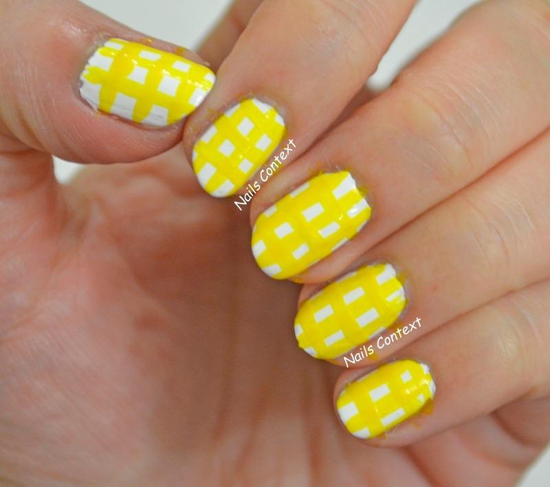 Yellow Gingham nail art by NailsContext