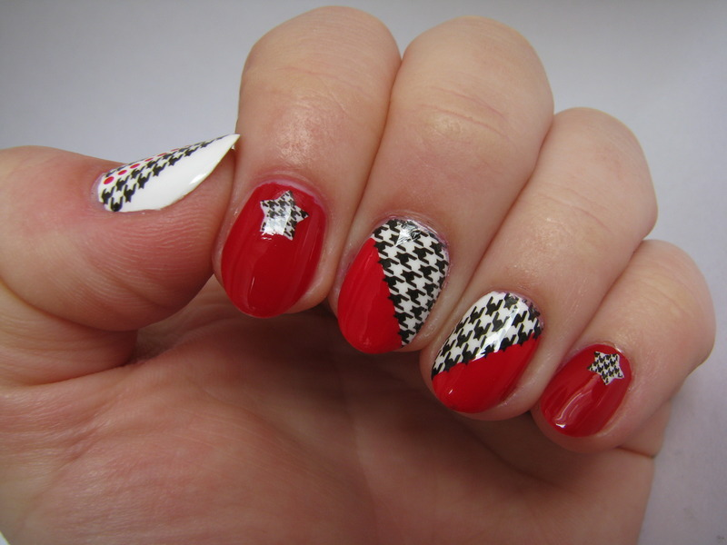 Houndstooth nail art by Nail Crazinesss