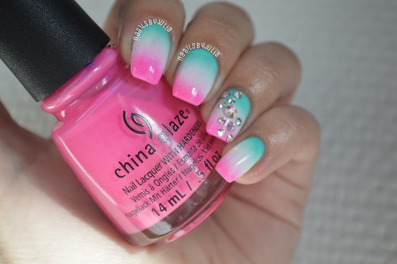 Neon gradient nail art by Julia