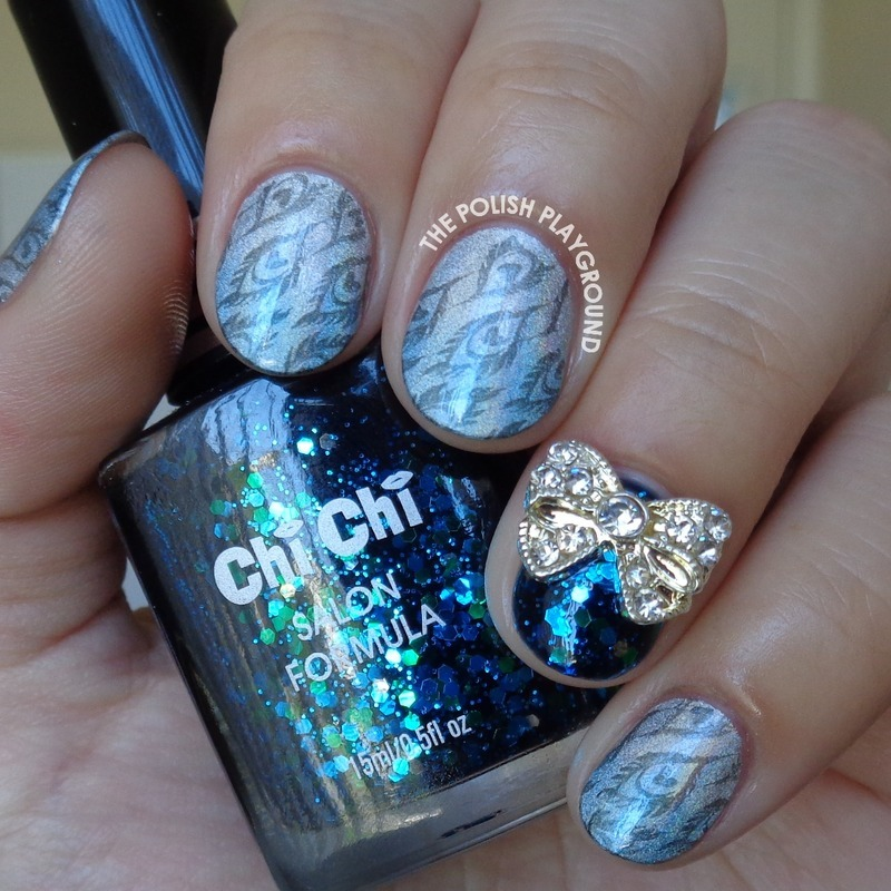 Blue and Silver Holo Gradient with Feather Stamping nail art by Lisa N
