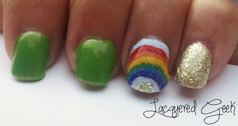 St. Patrick's Day nail art by Kim (Lacquered Geek)