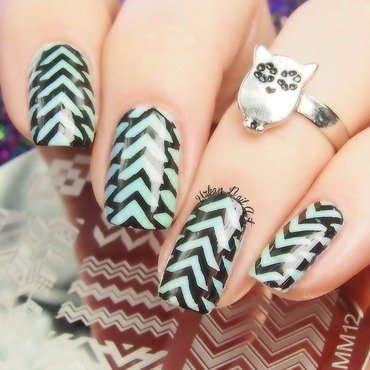 Black stamping on vertical gradient nail art by Lou
