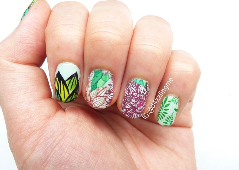 Flower Nails  nail art by D4zzling Me