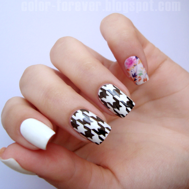 houndstooth & flowers nail art by ania