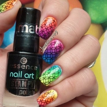 rainbow gradient nail art by Justine145
