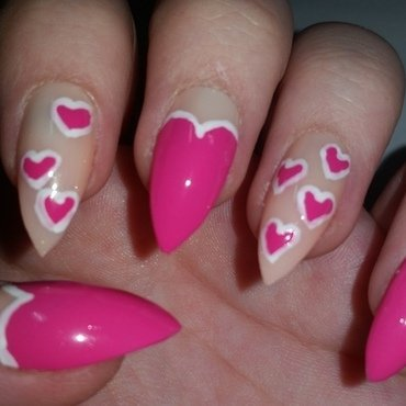 Stiletto nail with pink love hearts  nail art by Ellie Louise