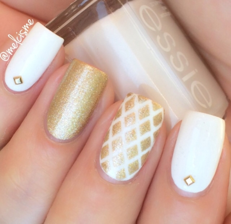 White & Gold nail art by Melissa