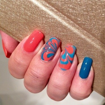 Oh my God, it's watermarble! nail art by Varvara