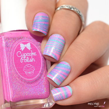watermarble holographic cupcake Polish nail art by melyne nailart