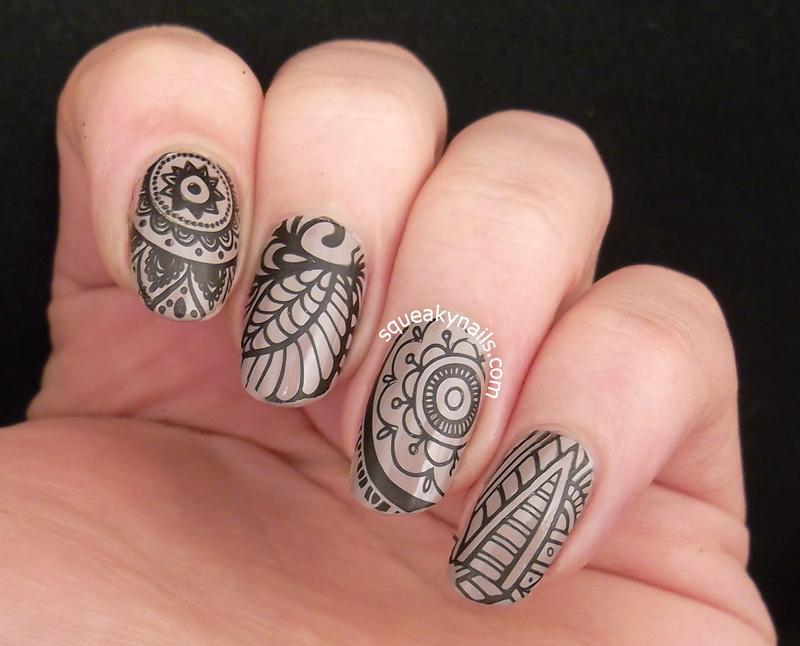 Linework nail art by Squeaky  Nails
