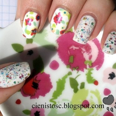 Flowers inspired by teapot  nail art by theCieniu