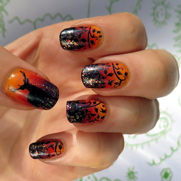 Romantic sunset at woods nail art by theCieniu