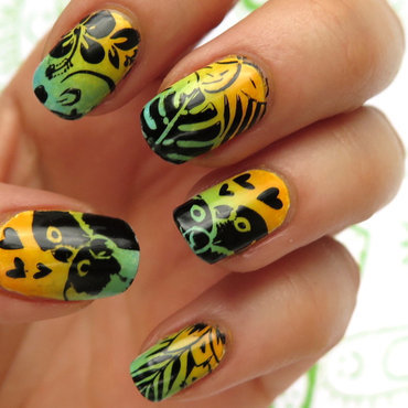 Tropical nailart moyou london tropical04 04 collection parrot flowers gradient summer colorful zdobienie paznokci wakacje thumb370f