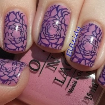 52WPNMC- pink and lilac/roses nail art by Jenette Maitland-Tomblin