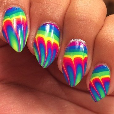 Feather Design Water Marble nail art by Bianca  Pants