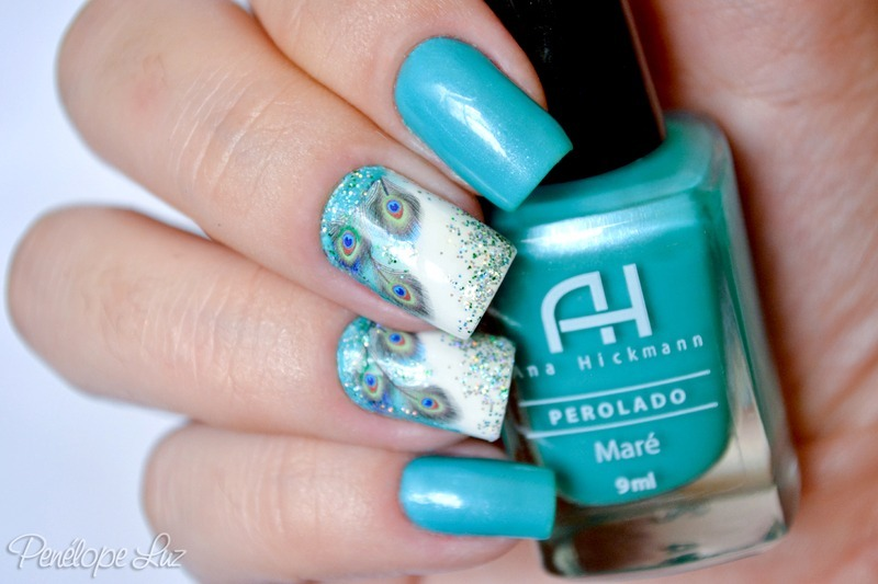 Peacock Decals nail art by Penélope Luz