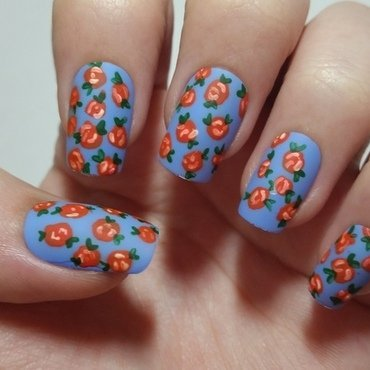 Vintage floral Red rose nail art  nail art by Ellie Louise