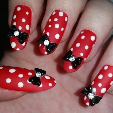 Red Rockabilly nail art nail art by Ellie Louise