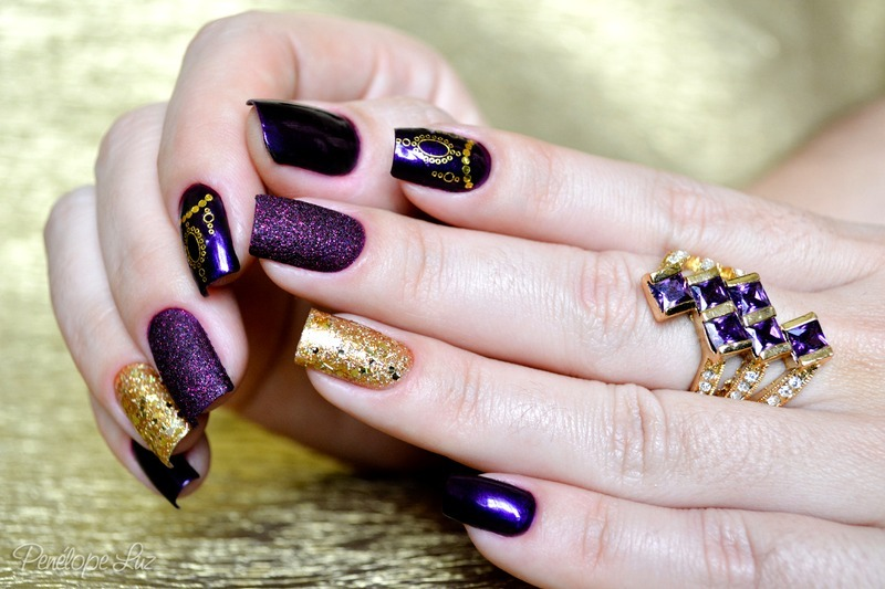 Mix'n Match Purple and Gold nail art by Penélope Luz