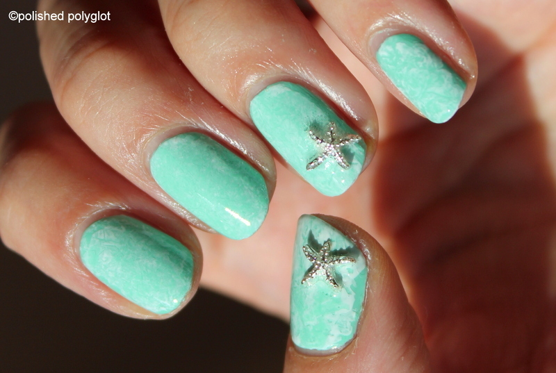 Minty summer with starfish studs nail art by Polished Polyglot