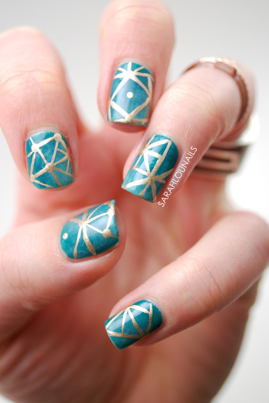 Gold Square Pattern Nails! nail art by Sarah S