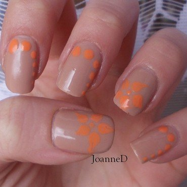 Orange on the nude nail art by JoanneD