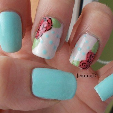 Pastel roses nail art by JoanneD