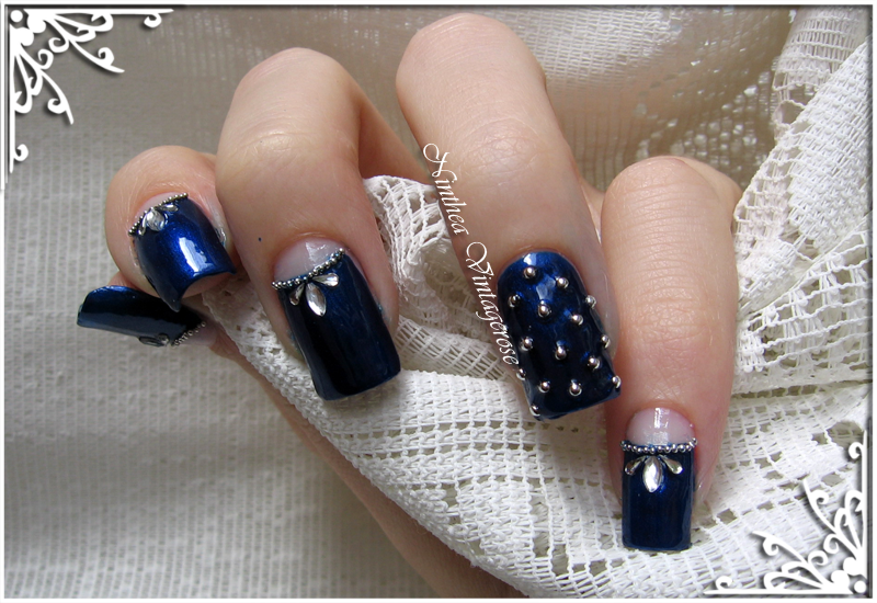 Deep blue nail art by Ninthea