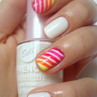 White and neon strapes nail art by Kasia