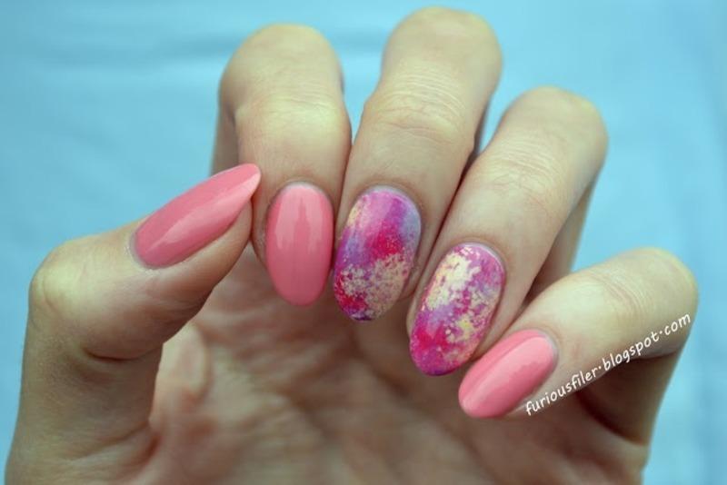 Pink abstract nail art by Furious Filer