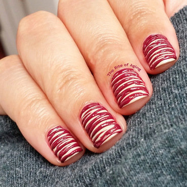 Raspberry Drizzled Cheesecake Nails nail art by Monica