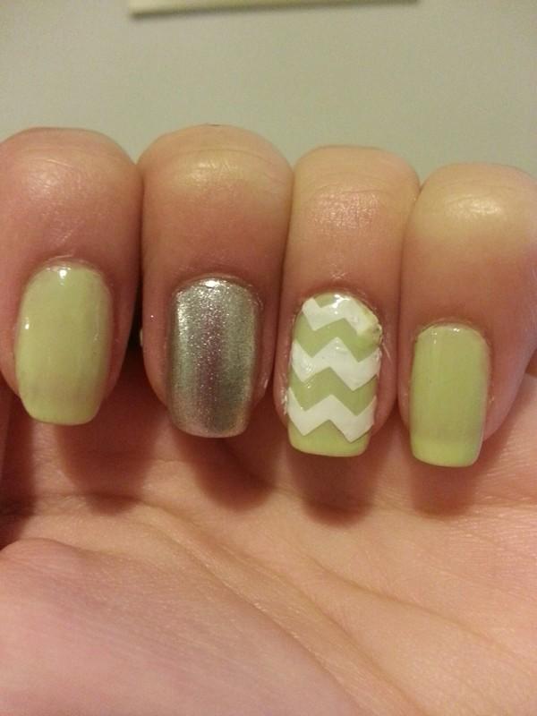 green chevron nail art by Maya Harran