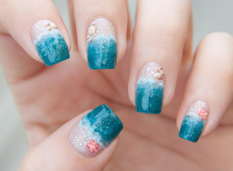 Sea and Sand nail art by Chasing Shadows