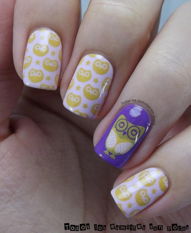 Owls nail art by Maria