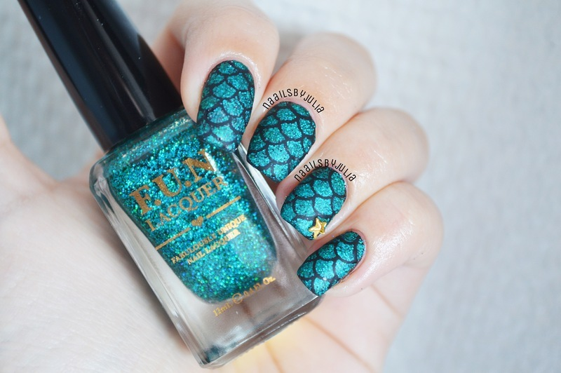 Mermaid scale matte version nail art by Julia