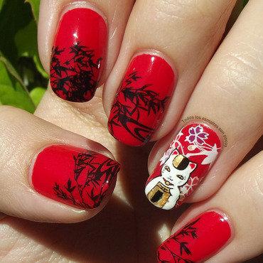 Maneki neko nail art by Maria