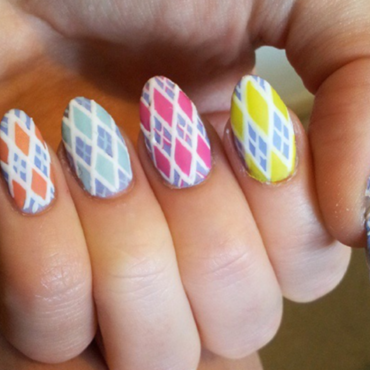 Argyle Diamonds nail art by Ellie Payne