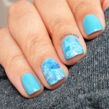 Light Blue Dry Brush Nail Art nail art by Monica