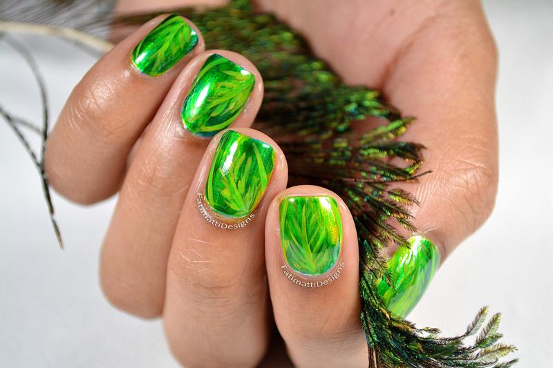Shiny Leaves nail art by Fatimah