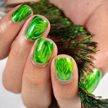 Shiny Leaves nail art by Fatimah
