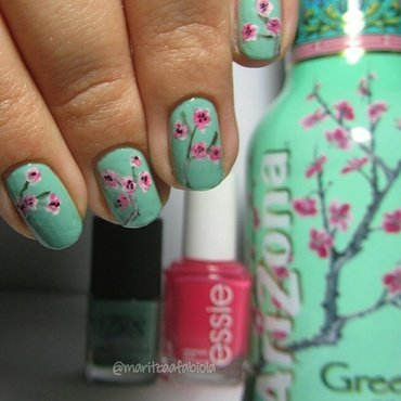 Cherry blossom nails nail art by Mary
