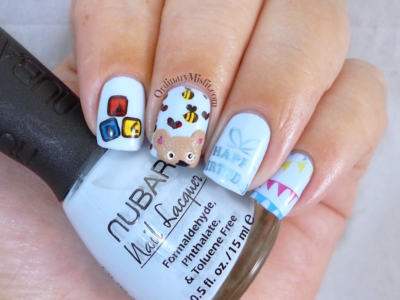 Baby birthday nail art by Michelle