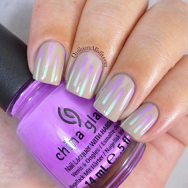 Nude & neon gradient stripes nail art by Michelle