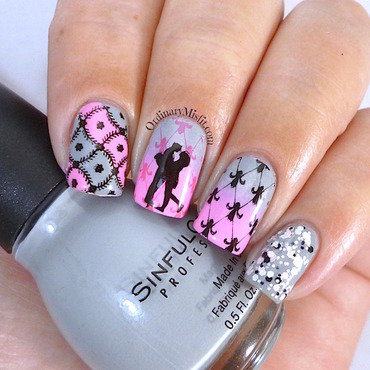 Pink & grey  nail art by Michelle