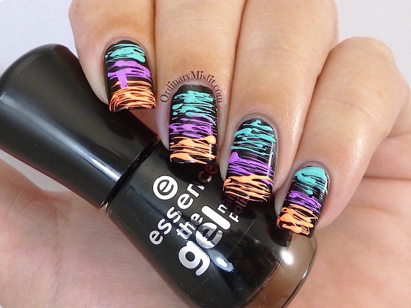 Neon sugar spun nail art by Michelle