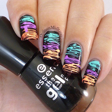 Neon sugar spun nail art by Michelle