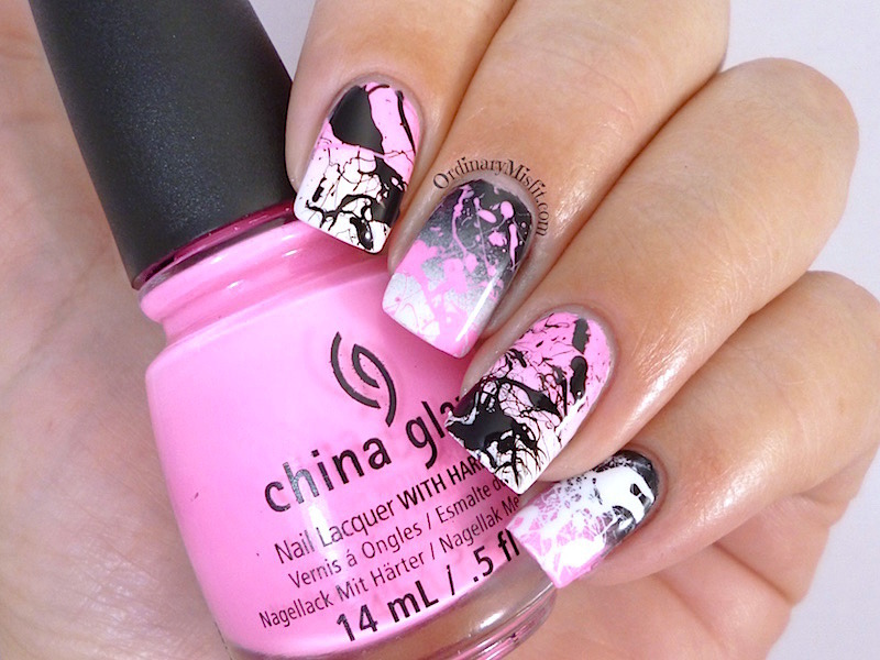 Pink splatter & gradient nail art by Michelle