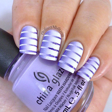 Purple reciprocal gradient nail art by Michelle